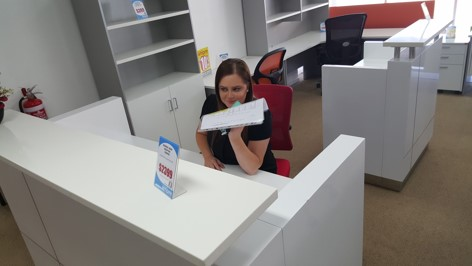 Bethany choosing a Reception Desk